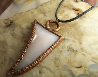Pink Opal from Peru cabochon talon point free form cab cabochon , copper Electroform necklace pendant coyoterainbow handcrafted handmade