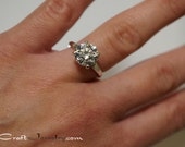 Classic 4 Prong Cubic Zirconia Engagement Ring 0.84-3.35 Carats CZ Promise Ring Sterling Silver Solitaire Round Diamond Simulant Sizes 3-13
