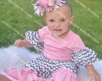 Light Pink and Grey Over The Top Funky Birthday Boutique Hair Bow on matching Headband
