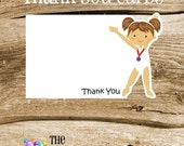 USA Gym Girls Party - Set of 8 Brunette Gym Girl Gymnastic Thank You Cards by The Birthday House