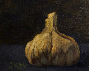 Oil painting, still life, original artwork, garlic, blue and white, home decor, gift idea, kitchen art, french country, provence