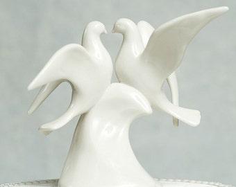 Porcelain Doves Wedding Cake Topper Figurine - 70117