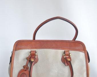 Liz Claiborne Vintage Classic Satchel leather 90's Preppy handbag purse