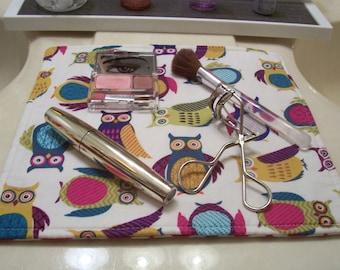 Fabric Makeup Mat, Cute Owls and Chevron, Small Cloth Placemat, Teacher Gift, Counter Mat, Cosmetics Placemat