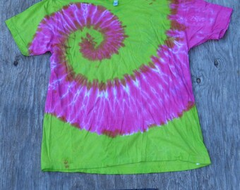 Hot Pink and Lime Green Spiral Tie Dye T-Shirt (American Apparel Size XL) (One of a Kind)