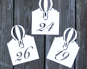 Hot Air Balloon Table Numbe Cards - Wedding Place Cards, Script,Flat Table Numbers,Reception,Escort Card, Rustic Wedding, Table Number Cards