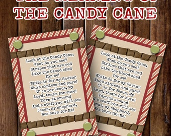 The Meaning of The Candy Cane- (4) 3.5x5 Cards- Instant download