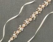 Rose Gold Bridal Belt | Rose Gold Wedding Belt | Skinny wedding rose gold sash [Bisoux Sash]