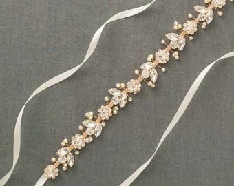 Rose Gold Bridal Belt | Rose Gold Wedding Belt | Rose Gold Sash | Rose Gold Bridal Sash | Wedding Dress Sash | Skinny Sash [Bisoux Sash]