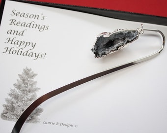 Bookmark Geode, Bookmark Crystal, Egg Geode, Book Worm, Reading, Read, Book Charm, Book Mark, Christmas Card, BOOK6
