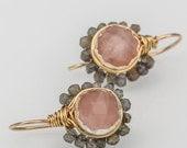 Labradorite Flower Earrings, Labradorite Jewelry, Natural Labradorite, Rose Quartz, Gift For Her, Delicate Dainty Earrings