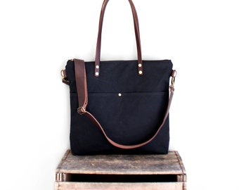 Waxed Canvas Tote in Black with Exterior Pockets