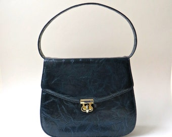 Mod vintage Air Step Navy Blue Faux Leather Embossed Vinyl Handbag
