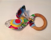 Organic Baby Teether - Wooden Ring and Organic Fabric - Wood Toy - Magic Garden Bold Floral Print