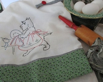 Christmas Scottie Dog Dish / Tea Towel  Hand Embroidered