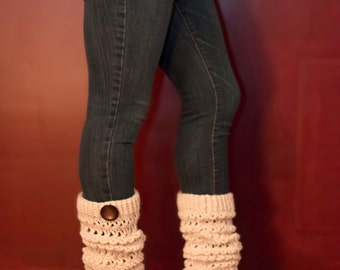 Creme Legwarmers with large button - slouchy legwarmers - boot socks - long boot socks - winter accessory