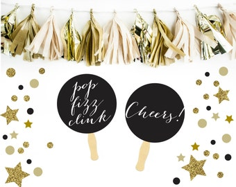 New Years Eve Photo Booth Props. 2015 New Years Eve. Happy New Year. Wedding. Black Tie