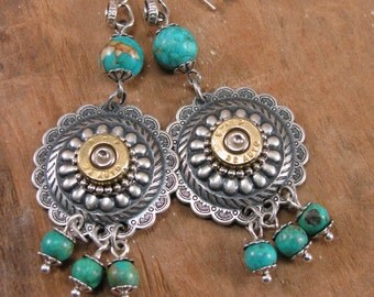 Bullet Jewelry - Southwest Style Round Concho and Turquoise 32 Auto Bullet Casing Dangles - Cowgirl Fashion - December Birthday