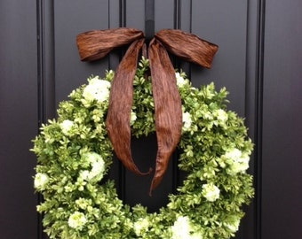 Large Boxwood Wreaths, Spring and Summer BOXWOOD Wreaths, XL Boxwood Wreaths, Artificial Boxwood, Faux Boxwood Wreaths for Front Door