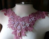 Lace Applique in Antique Rose Beaded Lace for Garments, Costume Design CA 43dl1