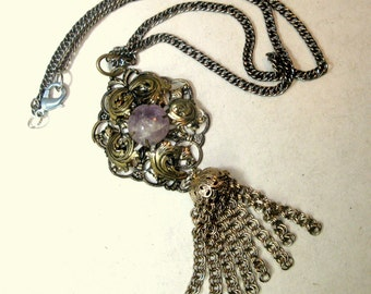 Filigree Silver Pendant With Amethyst and Chain Tassel, on Long Silver Chain, Victorian Necklace OOAK  Rachelle Starr Ecochic Recycled 2015