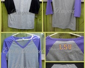 SALE Women's V Neck Raglan 3/4 Sleeve Shirt with Monogram in Purple or Black