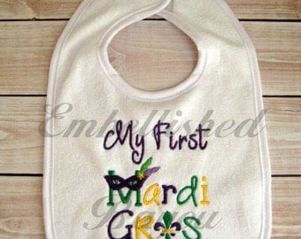 My First Mardi Gras Bib for Baby or Toddler