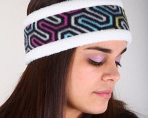 Fleece Headband, Ear Warmer, Winter Headbands, Neon Colored Geometric Design