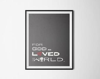 DIY Chalkboard For God So Loved the World Religious Printable Word Art 8x10 - Typography - John 3:16 - Instant Download - Heart - Globe