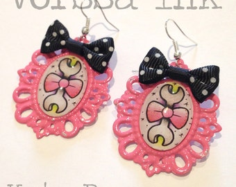 Old School Pin Up- Style spanner Earrings, pink, kata puupponen tattoo flash