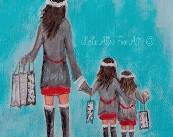 "Mother Daughters Art Mother Daughters Mother Art  Wall Art Home Decor  Big Sister Sisters Mom ""Shopping Beauties""  Leslie Allen Fine Art"