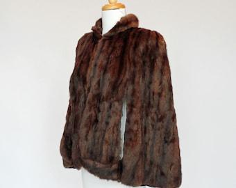 40's / 50's Fur Cape / Fur Jacket / Dark Brown / XSmall to Small