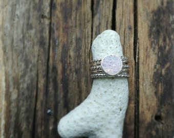 Stacked Sterling Silver Ring Set with Druzy Cabochon