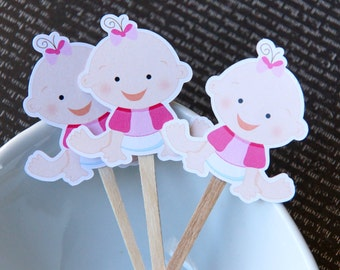 Baby Girl Cupcake Toppers, Party Picks or Skewers (Set of 12) - Tee Shirt Babies