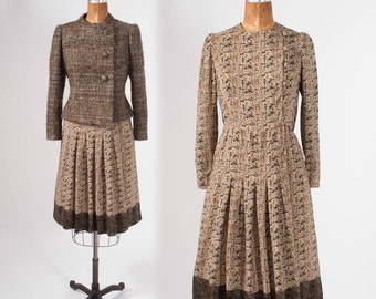 Vintage Arnold Sccasi Designer, Two Piece Dress Set, 80s Brown Wool Tweed, Cropped Jacket, Couture Dress