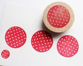 polka dot pattern stamp. circle hand carved rubber stamp. birthday christmas scrapbooking. block printing. gift wrapping. mounted