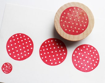 polka dot pattern stamp. circle hand carved rubber stamp. birthday christmas scrapbooking. block printing. gift wrapping