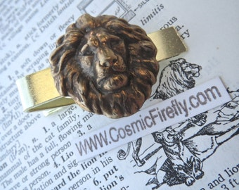 Big Lion Tie Clip Antiqued Brass Lion's Head Gothic Victorian Vintage Inspired Gold Tie Bar Lion Head Men's Accessories From Cosmic Firefly