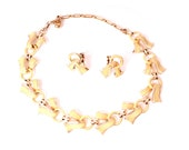 vintage Coro enamel necklace & earrings 1960s designer gold chain necklace choker yellow hand painted bold 1960s prom party wedding gift
