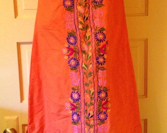 Vintage Embroidered Slim Maxi Peasant Dress Made In Mexico Gorgeous!