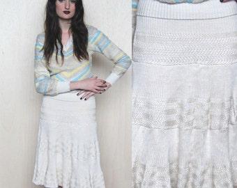 cream on top -- vintage 60's unique knit skirt size XS/S