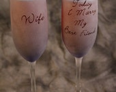 Today I Marry my Best Friend Wedding Toasting Champagne Flutes set of 2 in BLUE