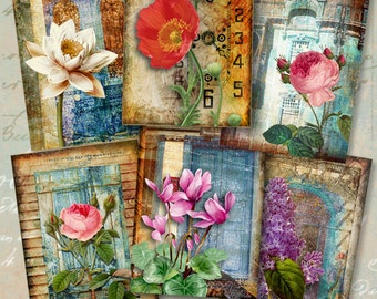 Printable Download FLOWERS FOREVER Gift Tags Digital Collage Sheet 2.5x3.5 inch size images Vintage garden Paper Craft decoupage Artcult