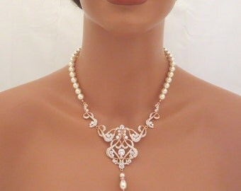 Rose Gold Wedding necklace, Pearl Bridal necklace, Wedding jewelry, Statement necklace, Art Deco necklace, Crystal necklace, VICTORIA