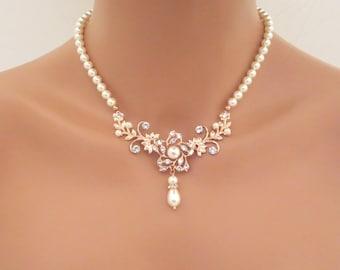Rose Gold Bridal necklace, Pearl Wedding necklace, Wedding jewelry, Vintage style necklace, Swarovski crystal necklace, Rhinestone AVA