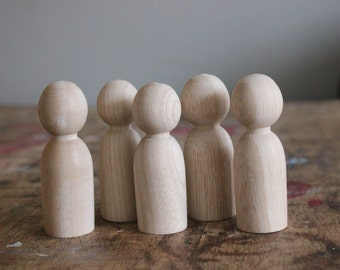 "5 Middle Brother Peg Dolls // size 2.5"" tall // Fair Wooden Peg Dolls // Hand-Turned Colombian Dolls"
