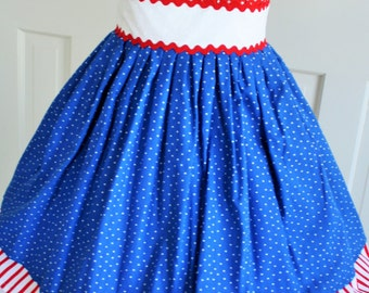 Stars and Stripes Red White and Blue Dress  Ready to Ship Sample Sale 8.