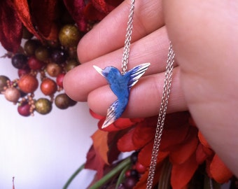 Hummingbirds in my heart -  in bronze with patina on delicate sterling silver chain - necklace