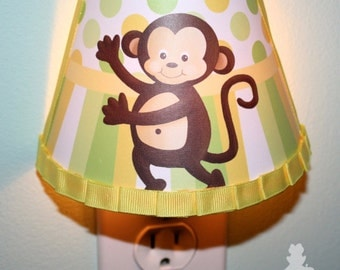 Yellow and Green Pop Monkey Boys NIGHT LIGHT for Kids Bedroom Baby Nursery NL0015