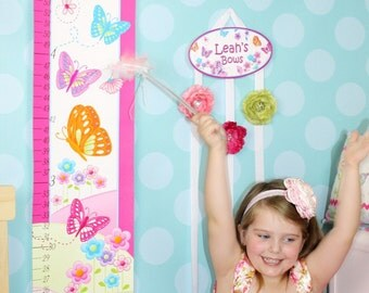 Canvas GROWTH CHART Hot Pink Delicious Butterfly Bedroom Baby Nursery Bedroom Wall Art